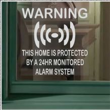 1 x Protected-Monitored Alarm System Stickers for Window-24hr Security Warning Signs for House, Flat, Business, Property-Self Adhesive Vinyl Sign